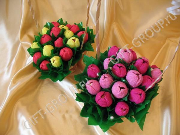 Букеты из конфет тюльпаны своими руками для начинающих пошаговое